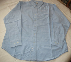 Jerzees adult mens long sleeve button front denim shirt L large lt blue ... - $16.03