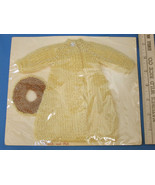 Handmade Knitted Barbie Doll Clothes Long Yellow Jacket Coat & Hat Cap B... - $12.86
