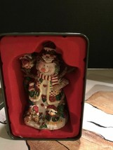 Snowman Ornament In Decorated Tin. Plaster Piece. Heavy Ornament. - $18.80