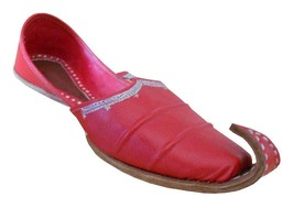 Men Shoes Jutti Indian Handmade Espadrilles Leather Khussa Red Mojari US 8.5  - $39.99