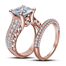 1.87 CT Diamond 14k Rose Gold Plated Pure 925 Silver Bridal Engagement Ring Set - $73.09