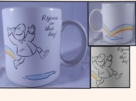 Vintage Rejoice In This Day Rainbow Mug Rainy Puddles Raincoat Hallmark ... - $10.18