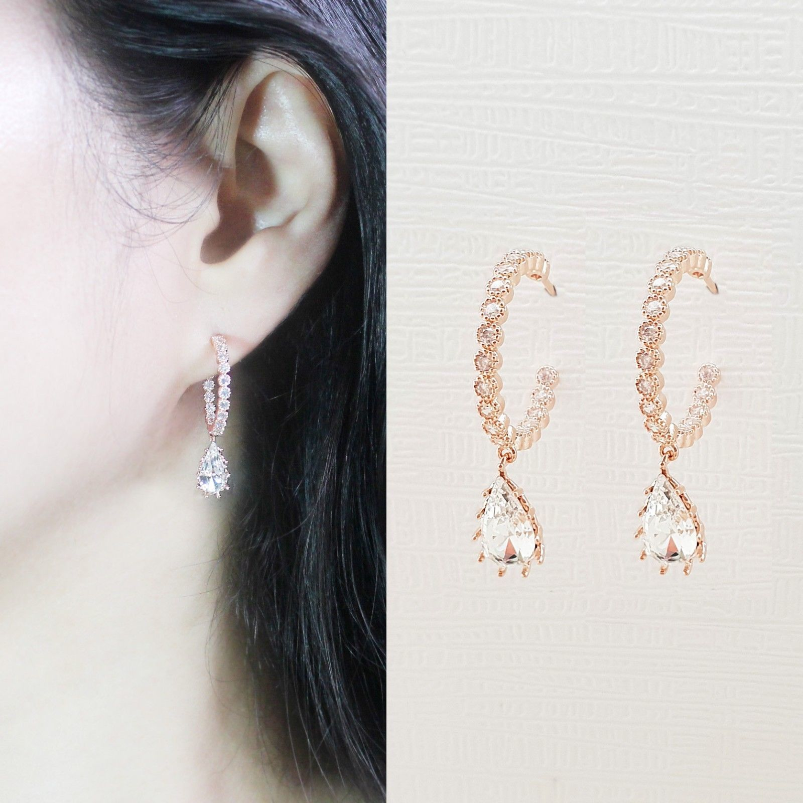 Hoop Water Drop Made With Swarovski Crystal Dangle Earrings Rose Gold Tone Pink