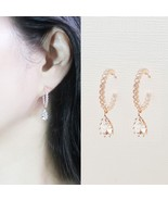 Hoop Water Drop Made With Swarovski Crystal Dangle Earrings Rose Gold To... - $32.71