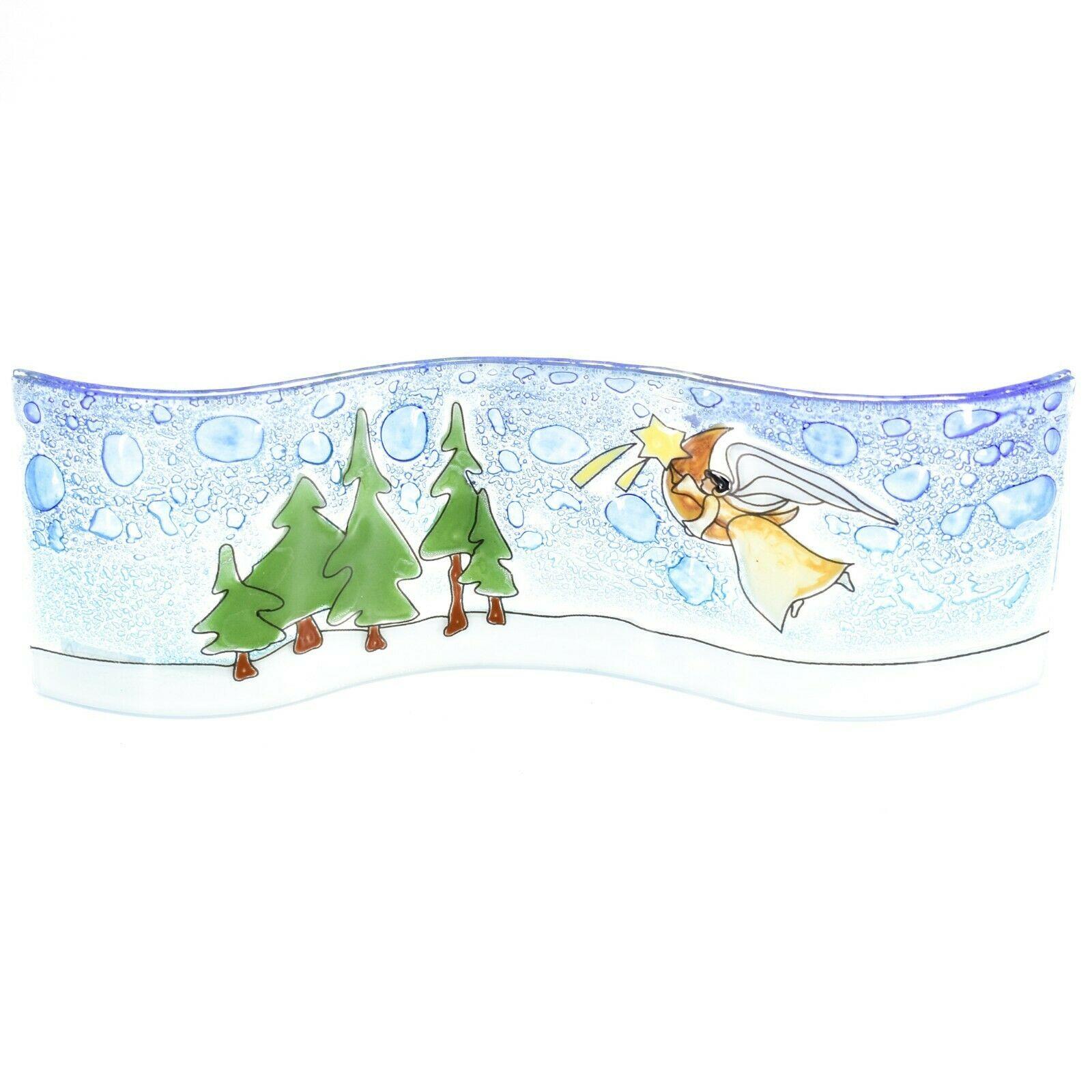 Fused Art Glass Christmas Heraldic Angel Wavy Decor Sun Catcher Handmade Ecuador
