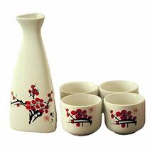 PANDA SUPERSTORE 5 Piece Japanese Sake Set Handmade Ceramic Wine Cup Wine Pot, P