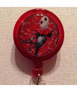 Jack Skellington Badge Reel Id Holder Disney Alligator Clip Red Handmade... - $8.99