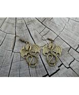 Tropicalia Handcrafted Earrings Dragons 2D Bronze-Tone Hook Boho Indie U... - $1.11