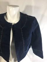 Talbots Girls Denim Jacket Blue Dark Wash Long Sleeve Open Chest Stretch Size 6 - $15.88