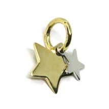 18K YELLOW WHITE GOLD DOUBLE MINI STAR PENDANT 11mm DIAMETER, FLAT SOLID SMOOTH image 2