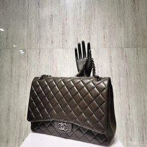 AUTH CHANEL QUILTED LAMBSKIN LEATHER MAXI CLASSIC DOUBLE  FLAP BAG SHW image 3