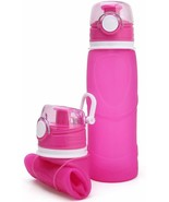 MyFriday Travel Pink Collapsible Water Bottle 750ml Silicone Foldable NEW - $12.60