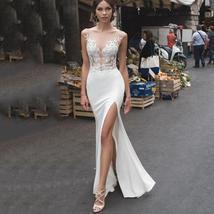 Backless Illusion Mermaid Wedding Dresses Lace Side Split image 5