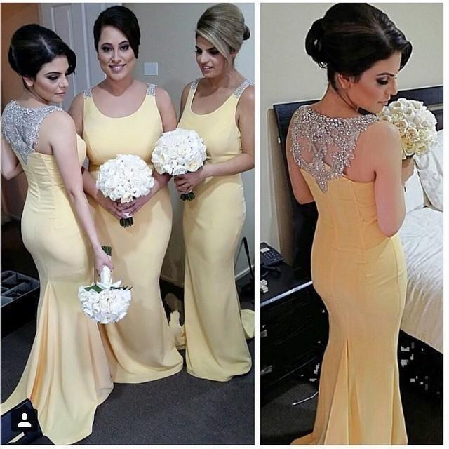 Amarillo mermaid arabe vestido de dama 2016 sparkly crystal dubai dama de honor vestidos para la