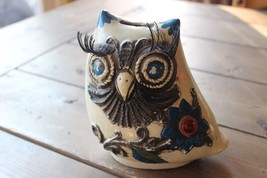 Vintage Ceramic One of a Kind Owl Piggy Bank From 1968 Crazy Eye Lashes - $84.47