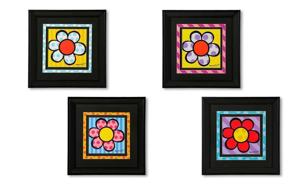 "Romero Britto  Black Framed Flower Poster Prints - Set of 4 11.8"" x 11.8"""