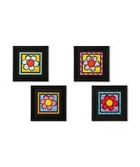 "Romero Britto  Black Framed Flower Poster Prints - Set of 4 11.8"" x 11.8""  - $197.99"