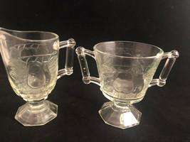 2 PC Jeannette Glass Baltimore Pear Motif Vintage Sugar & Creamer - $22.65