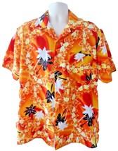 Kennington Hawaiian Orange Sunset Tropical Palm Trees Floral Aloha Shirt... - $39.99