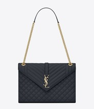 NWT Yves Saint Laurent Large gray monogram envelope leather bag; Rtl $2590 - $1,999.99