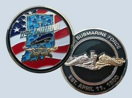 NAVY USS INDIANA SSN-789 SUBMARINE GOLD SILVER DOLPHIN CHALLENGE COIN - $28.49