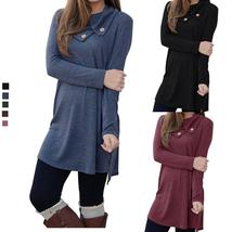 Women's Long Sleeve Dress Pure Color Pile Collar Casual Shirt Dress - $22.00