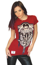 Cardboard Robot Women's Blood Red Weapon Arsenal of Democracy Choice T-Shirt NWT image 1