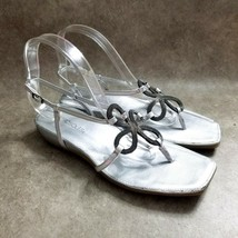 Aerosoles Womens Soul Mate  Size 10 Silver  Leather Thong Slingback Sandals - $16.99