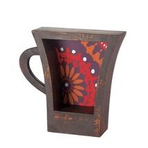 Wood Shelf Decor, Mini Dark Coffee Cup Decorative Wall Display Shelf - $51.39