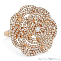 1.48 ct Round Cut Diamond Pave Right-Hand Flower Cocktail Ring in 18k Ro... - $3,419.99