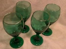 Set Of 4 Vintage Libbey Green Wine Glasses - $27.72