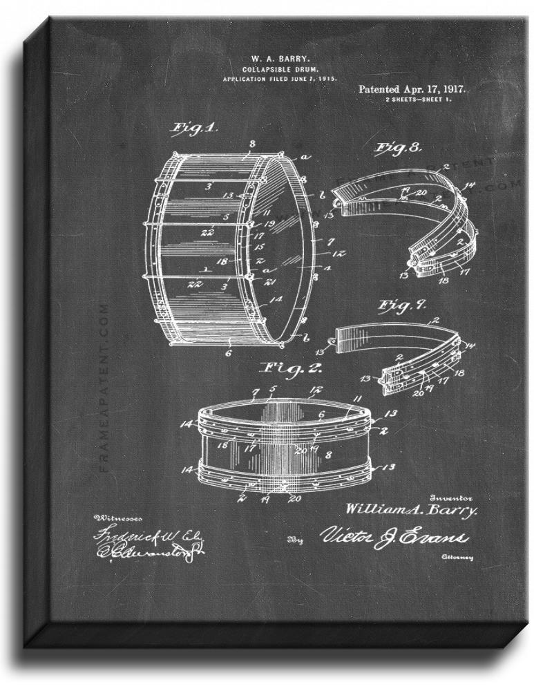 Primary image for Collapsible Drum Patent Print Chalkboard on Canvas