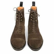 Handmade Men's Chocolate Brown High Ankle Lace Up Suede Boots image 5