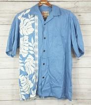 Hilo Hattie Hawaiian Camp Shirt Tribal Palm leaf Floral Blue White Men's... - $18.55