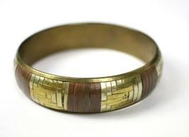 Vintage Geometric Inlay Strips Brass Fashion Costume Jewelry Bangle Brac... - $16.93
