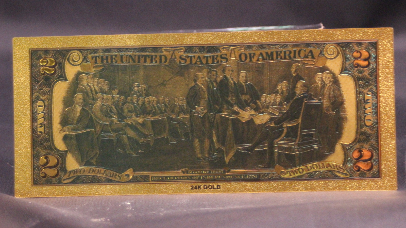 24K .9999 Pure GOLD Colorized $2 Dollar Bill Bank Note - Brand New Condition! A+