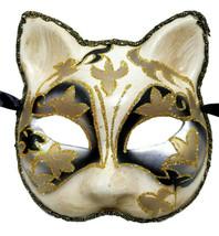 Venetian Cat Silver Black White Beige Paper Mache Masquerade Mardi Gras ... - $16.92