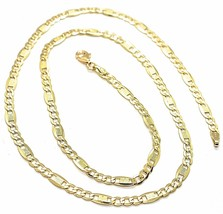 18K YELLOW GOLD CHAIN 4 MM, 19.7 INCHES ALTERNATE GOURMETTE CROSSHATCHING OVALS image 1