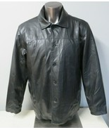 Mens Arizona Jeans Black Faux Leather Coat Button Front PVC Size L Lined... - $39.59