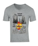 BARCELONA SPAIN - NEW COTTON GREY V-NECK TSHIRT - $19.15
