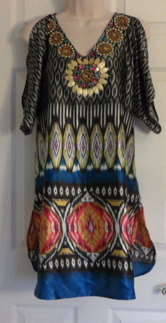 Boston Proper Cold Shoulder Dress Size Medium Embellished V Neck BEACH WEAR