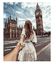 Paint By Numbers DIY Kit Romantic Hand In Hand Big Ben 40CMx50CM Canvas - $13.86