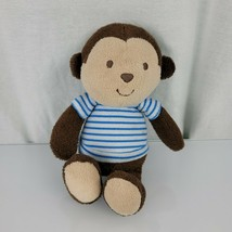"""Carters Child Of Mine Plush Brown Monkey Rattle Baby Lovey 8"""" Blue Shirt - $34.44"""