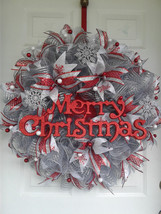 xmas wreaths,holiday wreaths,silver and red wreaths,christmas wreaths,sn... - $95.00
