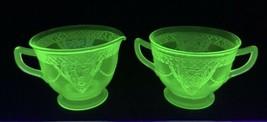 "Vintage Federal Glass Georgian ""Love Birds"" Green Creamer & Sugar - $37.95"