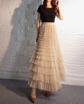 Deep Champagne Layered Tulle Skirt Outfit Long Tiered Tulle Skirt Plus Size  image 2