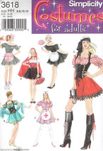 Sexy Nurse French Maid Pirate Car Hop sz 6-12 Simplicity 3618 Sewing Pat... - $8.41