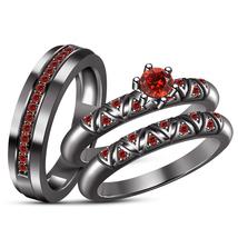 Bride & Groom Trio Ring Set Round Cut Red Garnet Black Rhodium Finish 925 Silver - $176.86