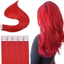 Easyouth Tape in Hair Extensions 14 inch Color Red 25g 10Pcs/set Skin Weft Hair