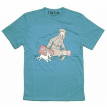 Tintin & Snowy homecoming t-shirt  Official Moulinsart Blue